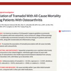 Tramadol Relacionado con Mortalidad en Pacientes con Osteoartritis
